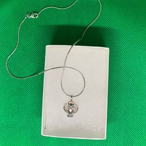 925 stamped silver angel necklace